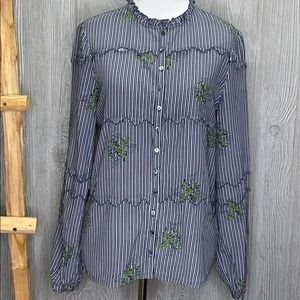 Dolan Striped Vine Leaves Button Up Blouse XS NWT